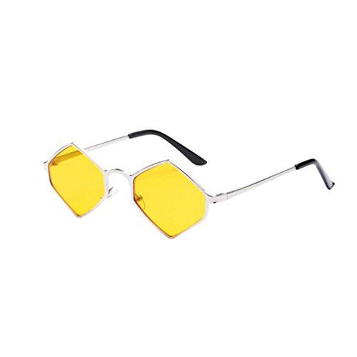 Color Sol Happy Transparentes Mujer de Fiesta Integrado Aviador Metal Hexagonal Unisexo de day Gafas amarillo UV Gafas Marco Sombras 44qx6rw0