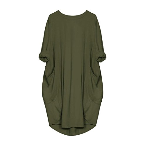 5edcbdec41a3 ZIYOU Kleider Damen Frauen Casual Plus Große Tasche Knielang Kleid ...