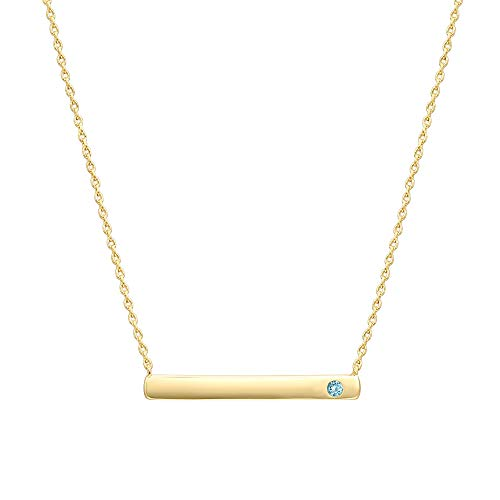 (PAVOI 14K Gold Plated Swarovski Crystal Birthstone Bar Necklace | Dainty Necklace | Gold Necklaces for Women | March)