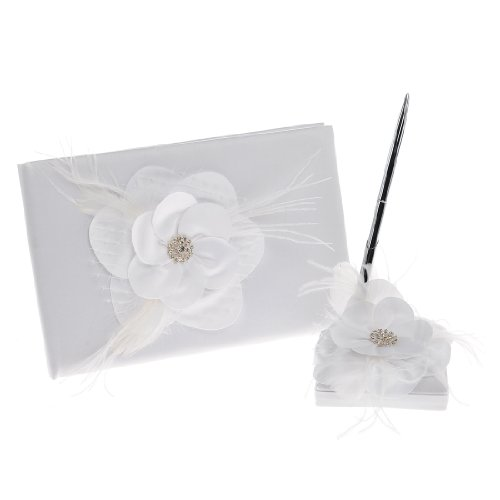 Remedios White Feather Flower Wedding Guest Book and Pen Set