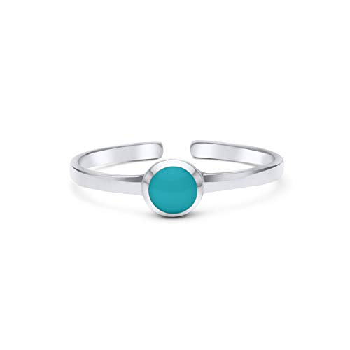 3mm Silver Band Antiqued Sterling (KEZEF Creations High Polished Sterling Silver Reconsitituted Turquoise Round Cabachon Toe Ring)