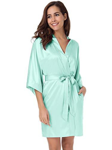 - SIORO Women's Satin Robe,Silky Kimono Bathrobe for Bride Bridesmaids,Wedding Party Loungewear Short,Mist S Mint Green