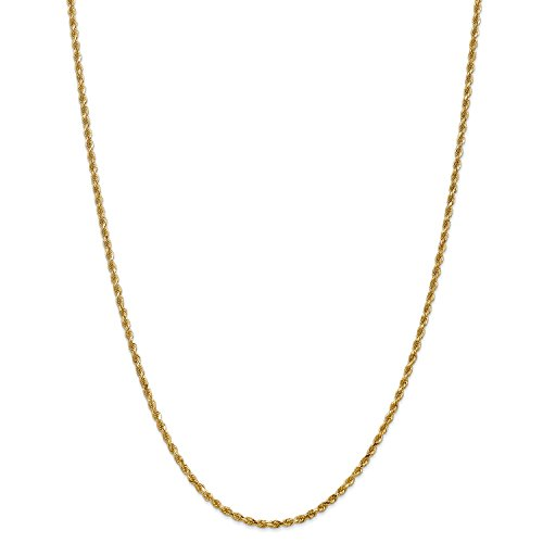 7' 2.5 Mm Diamond (Roy Rose Jewelry Leslies 14K Yellow Gold 2.5mm Diamond Cut Rope Chain Bracelet ~ Length 7'' inches)