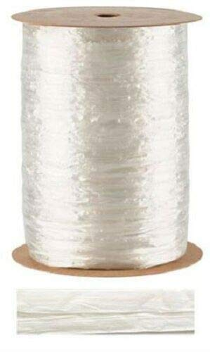White Pearlized Raffia Ribbon Gift Wrap Wedding 1/2'' Wide 500 Yards Bow by retail-warehouse
