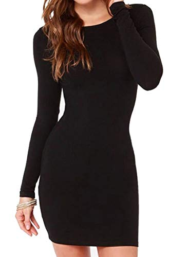 Mini Unie Manches Casual Couleur Col Moulante De Rond te robe F Longues Femmes Noire Des Jaycargogo xwIP0F0