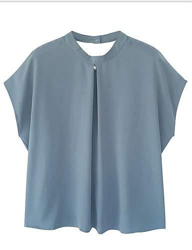 Femmes Couleur Blue Unie Chemisier YFLTZ v5nxwq1AB