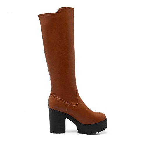 AllhqFashion Womens Round Closed Toe High-heels Blend Materials Solid Knee-high Boots Brown RIjlUNhJFS