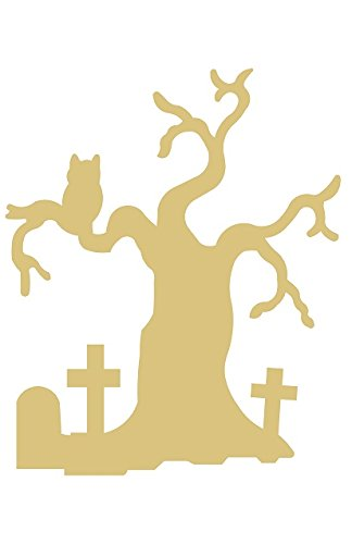 Halloween Tree Cutout Unfinished Wood Halloween Fall Spooky Door Hanger MDF Shaped Canvas Style 1]()