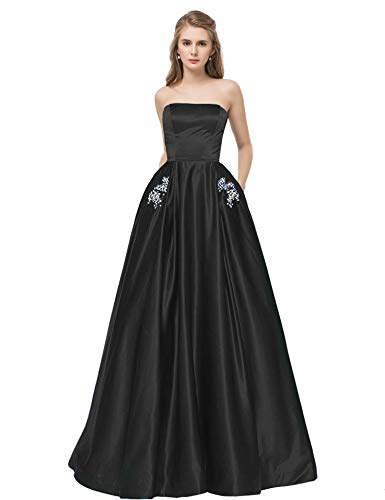 Beaded Waist Strapless Gown - Libaosha Satin Strapless Formal Gowns with Beaded Pockets Lace up Back Prom Dresses Long (US14, Black)