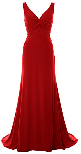 MACloth Women Mermaid V Neck Jersey Evening Gown Cowl Back 2017 Long Prom Dress Burgundy