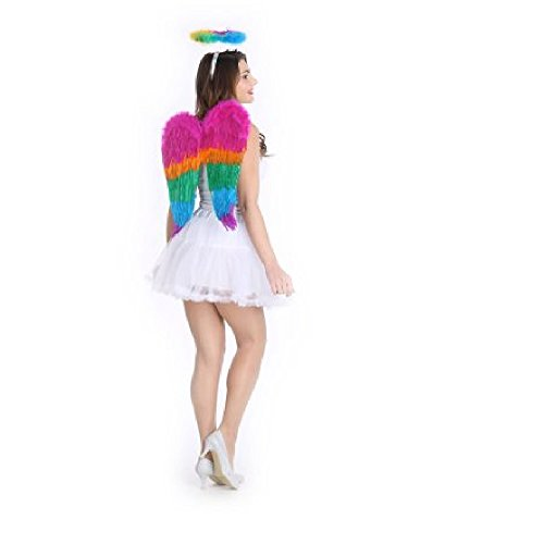 New Colorful Rainbow Feather Wings With Halo Halloween Costume Accessory