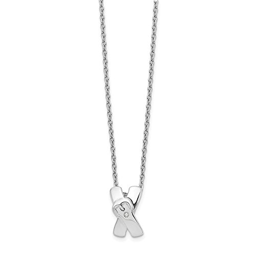 925 Sterling Silver X Buckle .01ct Diamond Chain Necklace Pendant Charm Fancy Fine Jewelry Gifts For Women For Her