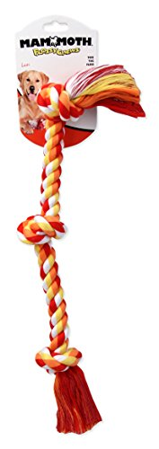 Flossy Chews Cottonblend Color 3-Knot Rope Tug, Medium, 20-Inch (Flossy Mammoth Chew)