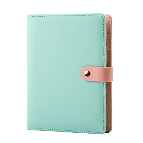 Leather Binder Journal Refillable Diary with Pen Holder 6 Ring Ruled Notebook and Journal,A5 Binder Loose Leaf Travel Journal 7.2' x 9.1'(Green)