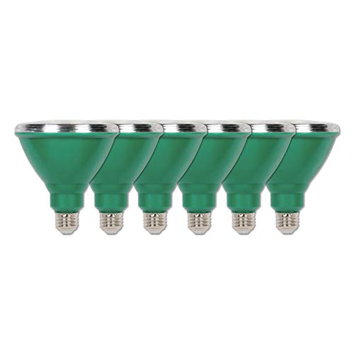 Westinghouse Lighting 3314920 100-Watt Equivalent PAR38 Flood Green Outdoor Weatherproof LED Light Bulb with Medium Base (6 Pack), Six 33149