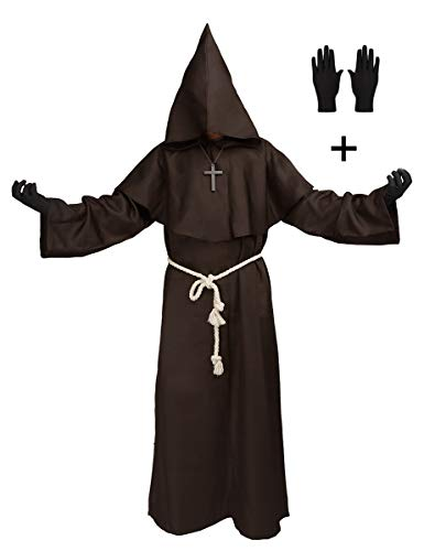 Medieval Monk Robe Priest Hooded Cap Cloak Halloween Cosplay Costume for Wizard Sorcerer (XLarge, Coffee) ()