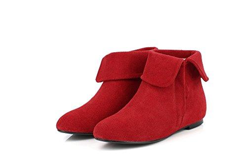 Allhqfashion Womens Stivali In Pelle Di Vitello Smerigliato Con Tacco Alto Con Interno Interno E Suola In Gomma Rossa