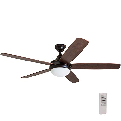 Newport Ceiling Light - Prominence Home 80093-01 Ashby Ceiling Fan with Remote Control and Dimmable Integrated LED Light Frosted Fixture, 52