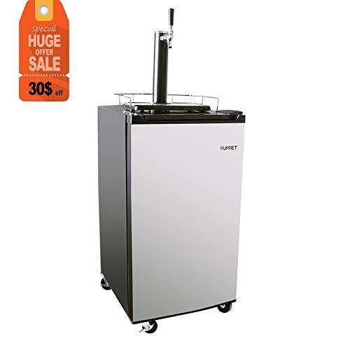 (KUPPET Kegerator& Draft Beer Dispenser, Beer Kegerator, Keg Beer Cooler for Party,Compressor Cooling CO2 Regulator Casters, Single-Tap,Stainless Steel,3.4 Cu.ft.)