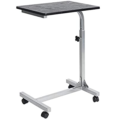 Medical Adjustable Overbed Table Tray with Wheels Multi-Purpose Laptop Computer Cart Desk