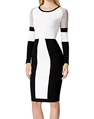 Calvin Klein Women Large Petite Colorblock Sweater Dress White PL