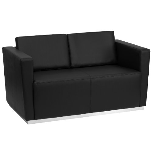 (MFO Debonair Collection Contemporary Black Leather Love Seat with Stainless Steel)