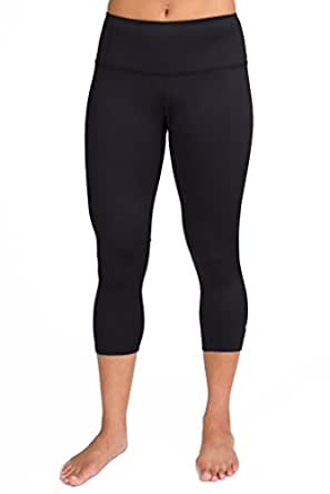 Inner Fire Solid Black Capri Yoga Pants, Extra-Small