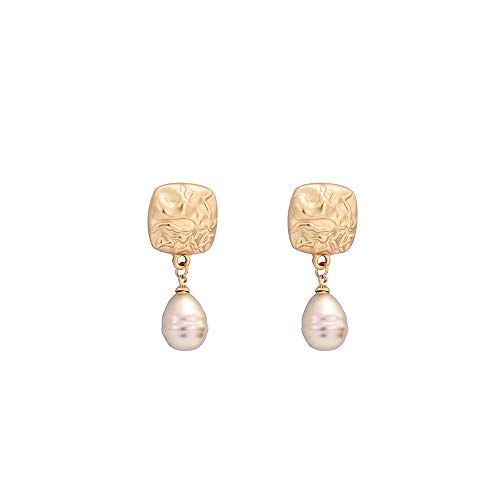 (Z&HA Delicate Geometric Drop Earrings Oval Freshwater Pearl Dangle Personalized Alloy Stud Earrings Jewelry Gift for Women,EA061)