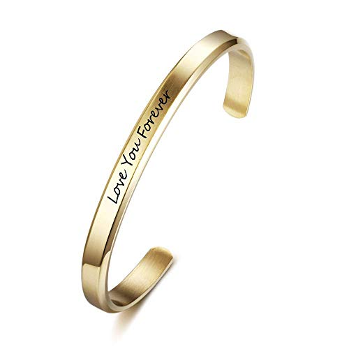 3mm Cuff (Lam Hub Fong Personalised Cuff Bangle Bracelets for Women Engravable Name Bracelets Wedding Bridesmaid Birthday Gift for Friends (Gold, 3mm Wide))