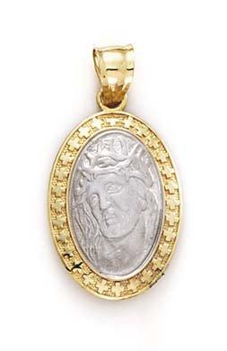 14 carats-Bicolore-JewelryWeb Christ-Pendentif ovale