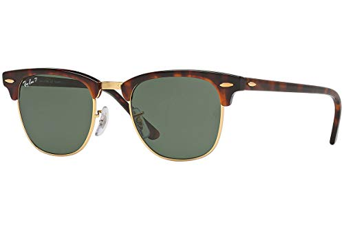 Ray-Ban RB3016 Clubmaster Sunglasses (49 mm, Tortoise Frame Solid Polarized ()