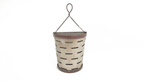 (Everydecor Small Metal Hoop Hanger Galvanized Olive Half Bucket Wall Decor)