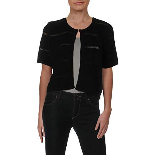 Calvin Klein Womens Cropped Short Sleeves Shrug Sweater Black -