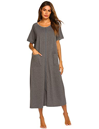 Ekouaer Zip Front Robe for Women House Coat Short Sleeve Zip up Nightgowns Sleepwear Grey