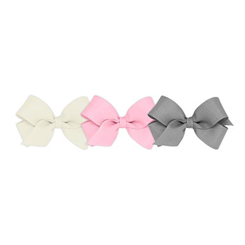 Wee Ones Girls' Mini Bow 3 pc Set Solid Grosgrain Variety Pack on a WeeStay Clip - Antique White, Pearl Pink and Gray ()