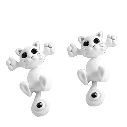 YOMXL 1 Pair Crazy Cat Earrings,Cute Animal Handmade Puncture Stud Earrings Novelty Cartoon Charm Earrings Lovers Gift for Women Lady Girls ()
