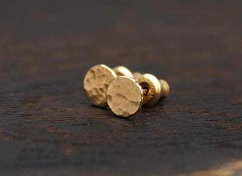 (14k Solid Gold Stud Earrings. Hammered 6mm Round Gold Studs. Handmade Artisan Jewelry)
