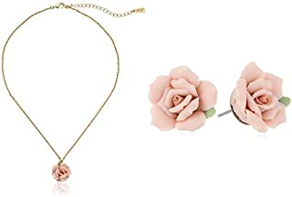 product image for 1928 Jewelry Gold-Tone Genuine Pink Porcelain Rose Adjustable Pendant Necklace and Post Button Earrings Set