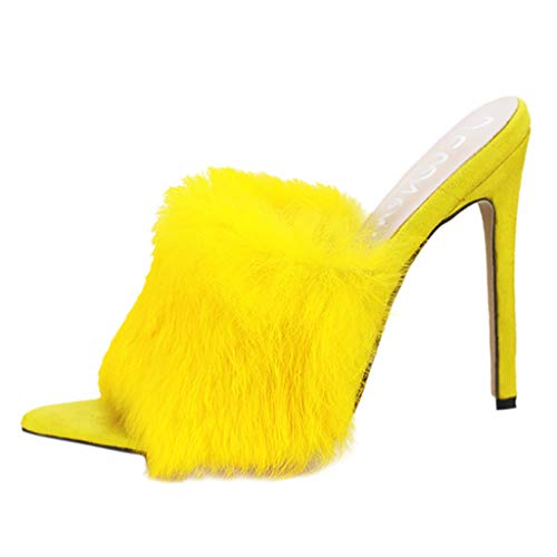 Mjuan Spring and Autumn Sexy Candy Color Rabbit Fur High Heel Shoes Sandal Women Shoes