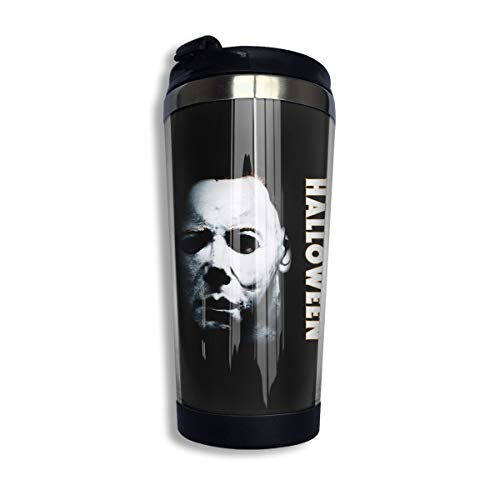 KGOISG Halloween Michael Myers Coffee Cups Stainless Steel Water Bottle Cup Travel Mug Coffee Tumbler with Spill Proof Lid -