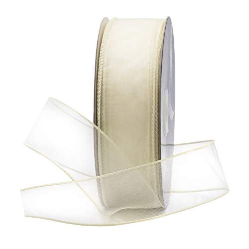 - Ivory Off-White Organza Wired Sheer Ribbon 1.5