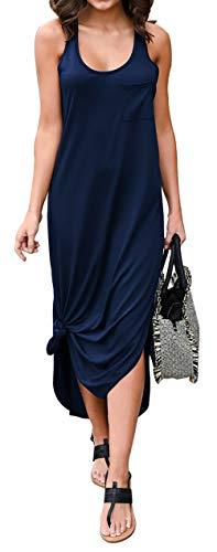 (BTFBM Women Long Dress Sleeveless Tank Top Racerback Side Knot Hem Split Plain Maxi Dresses with Pocket (Navy, Small))