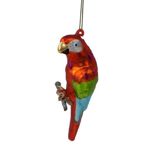 Parrot Christmas Tree Ornament - Parrot Tropical Ornament Blown Glass Christmas Tree Decoration