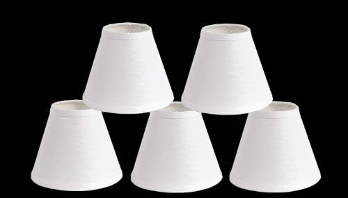 Urbanest Pure Linen Chandelier Lamp Shades, 6-inch, Hardback Clip On, White Set of 5