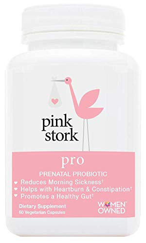 Pink Stork Pro: Prenatal Probiotic, Developed for Pregnancy, Morning Sickness, Gut Health, Immune Health, Heartburn, Constipation + More, 60 Small Capsules (Best Heartburn Medicine For Pregnancy)