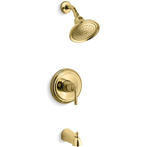 - KOHLER TS395-4S-PB Devonshire(R) Rite-Temp(R) bath and shower valve trim with lever handle, slip-fit spout and 2.5 gpm showerhead