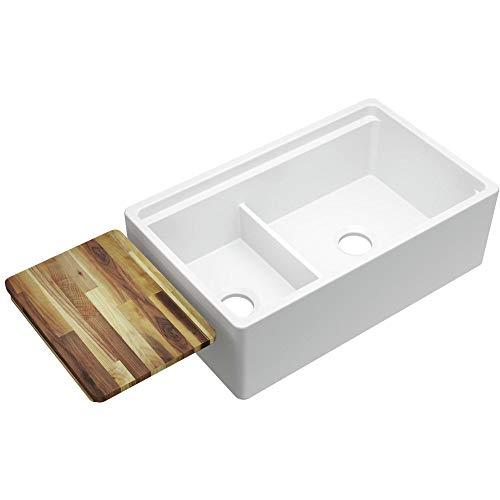 (Elkay Fireclay SWUF3320WH Double Bowl Farmhouse Sink with Aqua)
