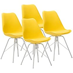 Design Furniture Eames Style Upholstered Dining Chair Set of 4, Yellow Modern Kitchen Dining Room Side Chair with Cushion Seat Metal Leg (Yellow)