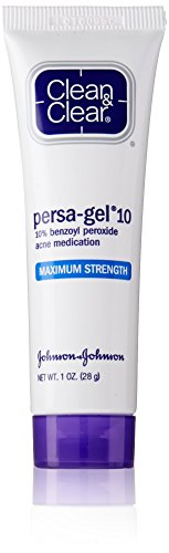 Clean & Clear Persa-Gel 10 Acne Medication Spot Treatment with Maximum Strength 10% Benzoyl Peroxide, Pimple Cream & Acne Gel Medicine for Face Acne with Benzoyl Peroxide Medication, 1 oz (Pack of 3) (Best Drugstore Acne Medication)