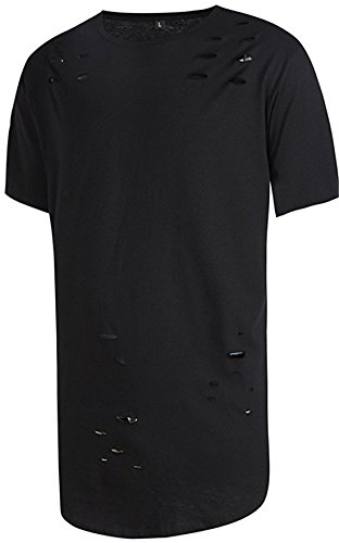 FCYOSO Mens Hipster Ripped-Holes Long Shirt Hip-hop Street T-shirt (US,L/Asia,XL) (Aynsley Henley)